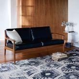 Mathias Mid-Century Wood Frame Leather Sofa
