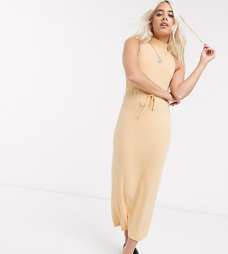 ASOS DESIGN Petite Exclusive high neck ribbed midi dress with drawstring in mustard marl