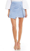 J.o.a. Striped Seersucker Wrap Skirt