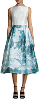 Theia Print Skirt Fit And Flare Dress