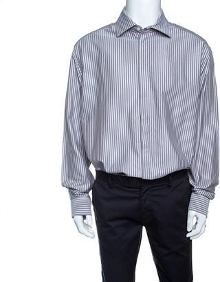 Armani Collezioni Grey Striped Cotton Long Sleeve Button Front Shirt 4XL