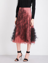 Valentino Pleated silk and tulle midi skirt