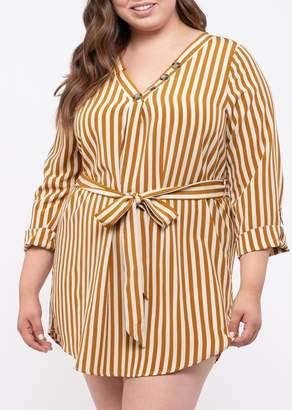 Blu Pepper Perch by Belted Stripe Shirt Dress (Plus Size)