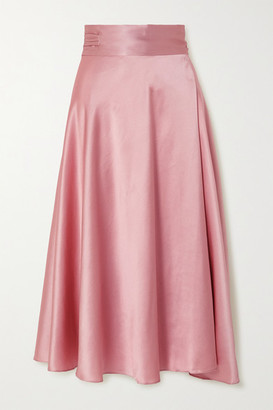 HARMUR Draped Silk-satin Wrap Midi Skirt - Pastel pink