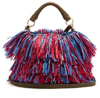 Diane von Furstenberg Raffia Fringe Bucket Bag - Womens - Pink Multi