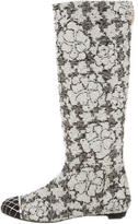 Chanel Tweed Camellia Tall Boots