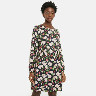 Short Printed Dress with Long Sleeves