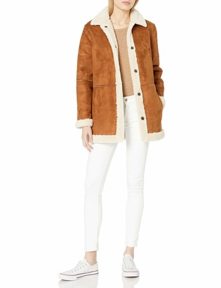 Velvet by Graham & Spencer Women's Kailani Faux Suede Sherpa Coat