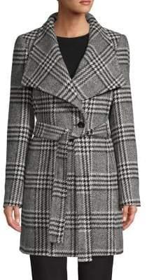 Calvin Klein Plaid Wool-Blend Wrap Coat