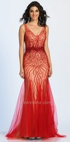 Dave and Johnny Cascading Beaded Tulle Godet Prom Dress