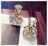 Flowers Double Earrings, double stud earrings, double side earrings, double crystal earrings
