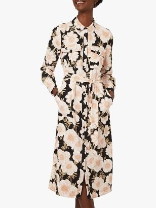 Warehouse Gardinia Flroal Print Midi Shirt Dress, Multi