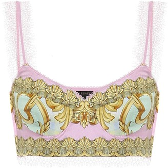Versace Exclusive to Mytheresa Printed silk bralette