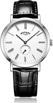 Gents Rotary Watches Stainless Steel Windsor Offset Watch With Black Leather Strap