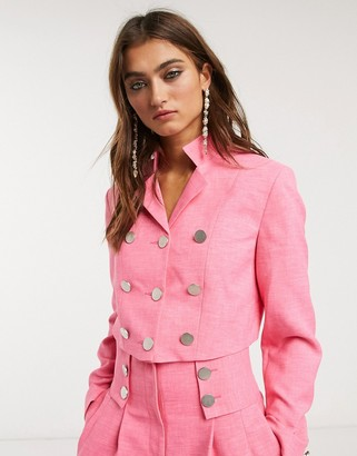 Topshop IDOL crop blazer co-ord in hot pink