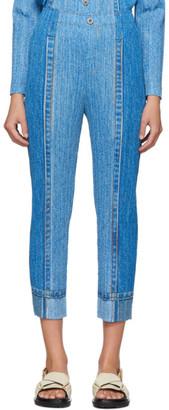 Pleats Please Issey Miyake Blue Denim Pleats Trousers