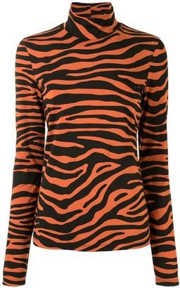 Proenza Schouler White Label Zebra Print Jersey Top