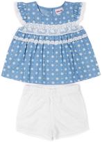 Little Lass Light Blue Angel-Sleeve Top & Shorts - Infant & Toddler