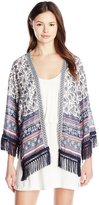 Jolt Women's Printed Kimono with Fringe Trim and Ribbon Detail