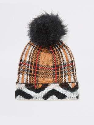 River Island Mixed Print Pom Beanie Hat - Brown