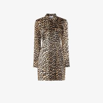 Ganni Leopard print silk shirt dress