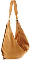 The Row Sling 15 Fringe-Trim Suede Hobo Bag, Sand