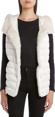 Moncler Beurre Lightweight Down Puffer Vest with Genuine Mink Fur Trim