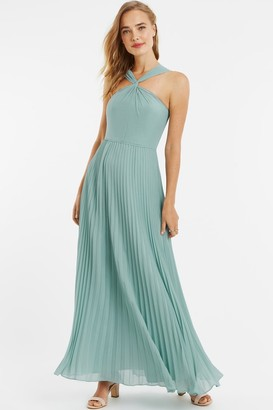Oasis Pale Green Twist-Neck Chiffon Pleated Maxi Dress