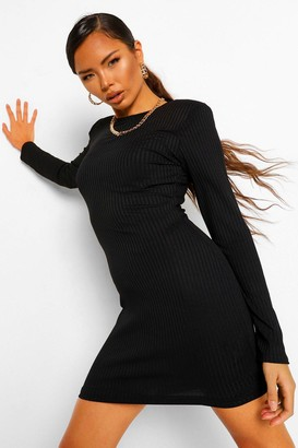 boohoo Rib Shoulder Pad Shift Dress