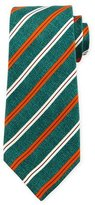 Kiton Grenadine Striped Silk Tie, Green