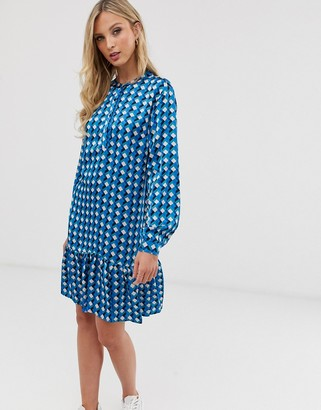 Ichi printed drop hem mini dress