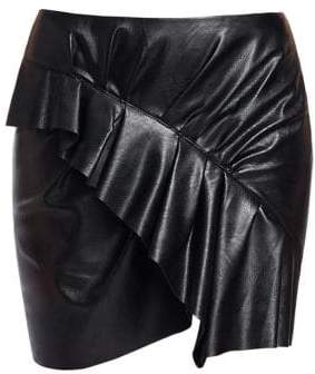 Etoile Isabel Marant Zeist Ruffle Faux-Leather Mini Skirt