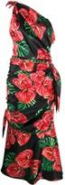Dolce & Gabbana Laceleaf print one-shoulder dress