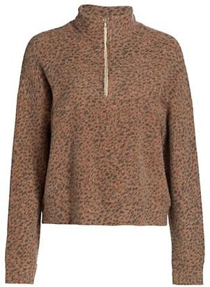 Monrow Mini Leopard Half-Zip Sweater
