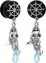 Body Candy Handcrafted Acrylic Nautical Mermaid Plug Set Created with Swarovksi Crystals 5/8""
