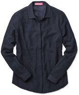 Charles Tyrwhitt Women's Semi Fitted Corded Lace Navy Silk Casual Shirt Size 10
