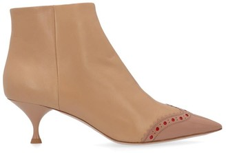 Miu Miu Patterned Pointed Toe Ankle Boots