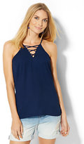 New York & Co. Lace-Up Halter Blouse