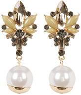 Natasha Accessories Stone Cluster with Faux Pearl Drop Earrings
