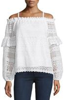 Parker Jordana Cold-Shoulder Lace Blouse, Ivory