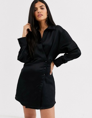 And other stories & side button blazer dress in black