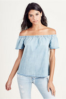 True Religion Denim Off The Shoulder Womens Top