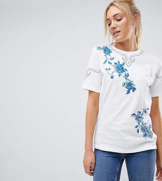 Asos Tall TALL T-Shirt With Embroidery-White