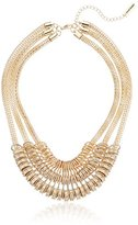"Steve Madden 2 Tone Crystal Accented Mesh Necklace, 16"" + 3"" Extender"