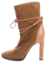 Lanvin Tie-Accented Suede Boots