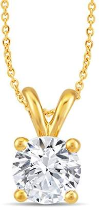 Perfect Love Diamond Collection Women's 18 ct Yellow Gold Round Diamond Pendant Necklace, Certified Ideal Cut 0.5 ct