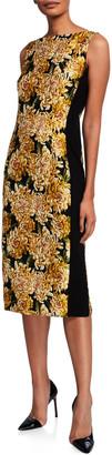 Escada Dleah Floral Jacquard Knit-Side Sheath Dress
