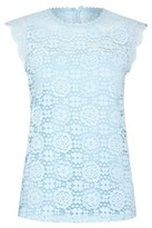 Dorothy Perkins Womens Blue Sleeveless Lace Shell Top, Blue