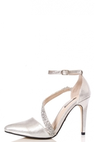 Quiz Silver Shimmer Diamante Strap Court Shoes