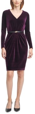 Calvin Klein Velvet Belted Sheath Dress